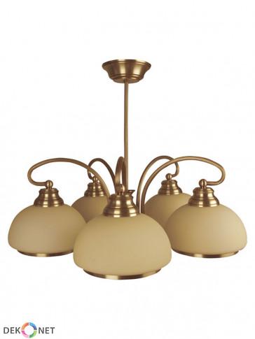 Lampa wisząca Szafir 5 płomienna, klasyczny mosiężny żyrandol 5 płomienny, klosze w kolorze ecru.