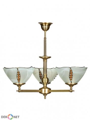 Lampa wisząca, żyrandol Rubin -  3 płomienny żyrandol mosiężny.
