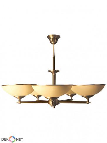 Lampa wisząca Topaz, 5 płomienna, klasyczna, mosiężna  lampa wisząca