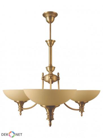 Lampa wisząca Jowisz 3 płomienna, klasyczny mosiężny żyrandol, delikatne klosze w kolorze ecru.