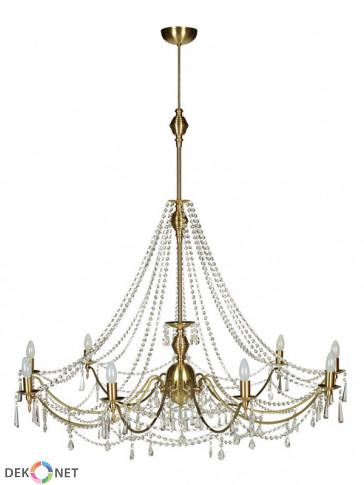 Lampa wisząca, żyrandol Irys – 9 płomienny żyrandol z mosiądzu.