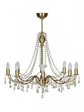 Lampa wisząca, żyrandol Gracja – 8 płomienny żyrandol z mosiądzu.