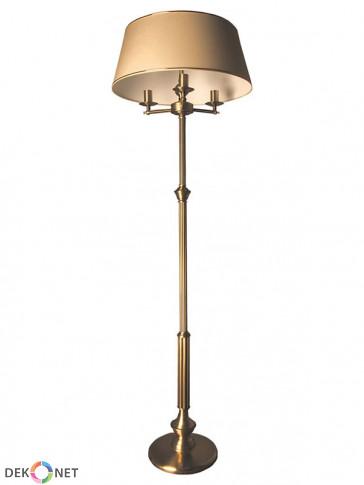 Lampa podłogowa Oktawia, klasyczna, mosiężna 3 płomienna lampa podłogowa z abażurami