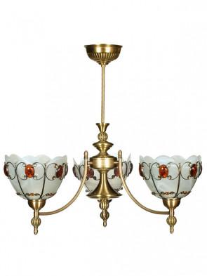Lampa wisząca, żyrandol Aster - 3 płomienny żyrandol z mosiądzu.