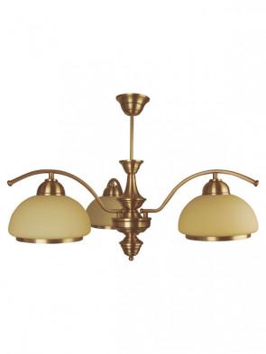 Lampa wisząca, żyrandol, Mewa – 3 płomienna lampa z mosiądzu, klosze w kolorze écru.
