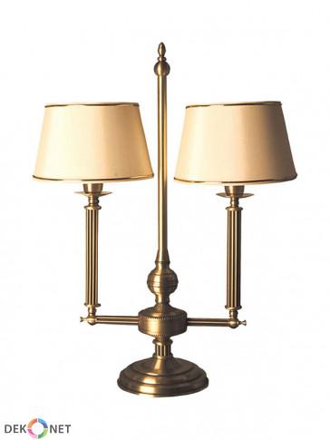 Lampa stołowa Oktawia, klasyczna, mosiężna stołowa lampa 2 płomienna z abażurem