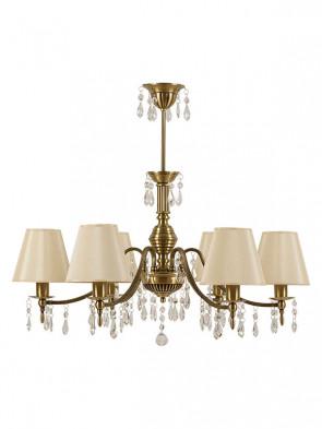 Lampa wisząca Wenecja -  6 płomienny  żyrandol z abażurami