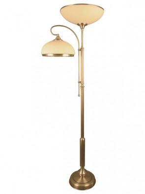 Lampa podłogowa Szafir 2, 2 płomienna,fantazyjna lampa stojąca z 2 różnej wielkości kloszami w kolorze ecru, klosze zakończone lamówką.