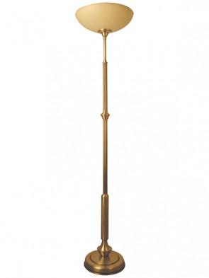Lampa podłogowa Jowisz 1 płomienna, klasyczna mosiężna lampa podłogowa, klosz w kolorze ecru, delikatna lamówka.