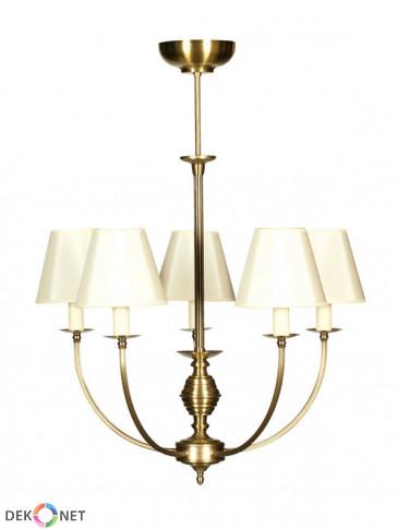Lampa wisząca, żyrandol Estera -  5 płomienny żyrandol z mosiądzu.