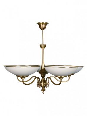 Lampa wisząca Dewon, klasyczna, mosiężna wisząca lampa 5 płomienna