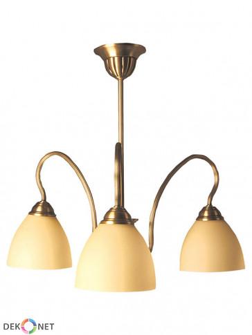 Lampa wisząca Karo. Klasyczna, mosiężna lampa wisząca 3 płomienna z kloszami ecru