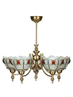 Lampa wisząca, żyrandol Aster -  5 płomienny żyrandol z mosiądzu.