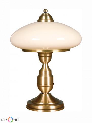 Lampa stołowa Uran. Stylowa 1-płomienna lampa mosiężna. Kolor ramy - mosiądz antyczny. Klosz biały, mleczny.