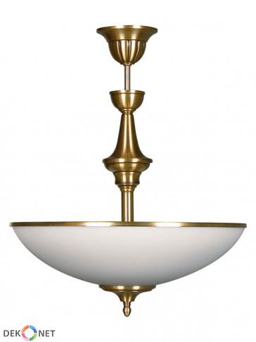 Lampa wisząca Dewon, klasyczna, mosiężna lampa 2 płomienna
