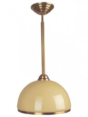 Lampa wisząca Kier 1 płomienna. Klasyczny krótka lampa wisząca, mosiężna, duzy klosz w kolorze ecru.