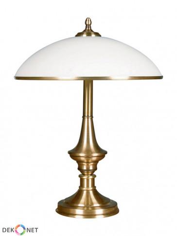Lampa stołowa Dewon, klasyczna, mosiężna 2 płomienna lampa stołowa