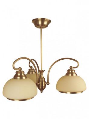 Lampa wisząca Szafir 3 plomienna, klasyczny mosiężny żyrandol 3 płomienny, klosze w kolorze ecru.