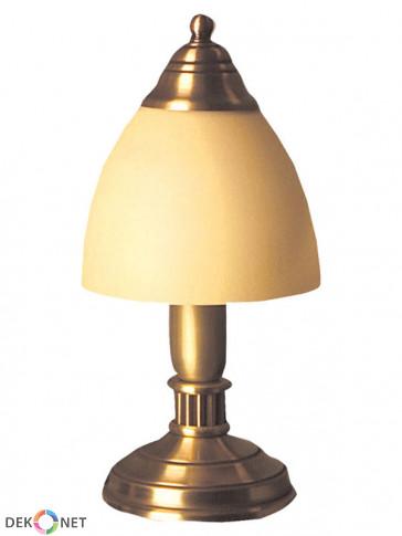 Lampa stołowa Karo, klasyczna, mosiężna 1 płomienna lampa stołowa z kloszem ecru