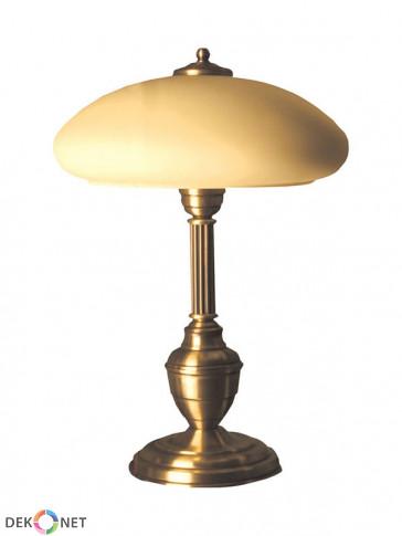 Lampa stołowa Saturn. Klasyczna mosiężna lampa stołowa, klosz szklany w kolorze ecru.