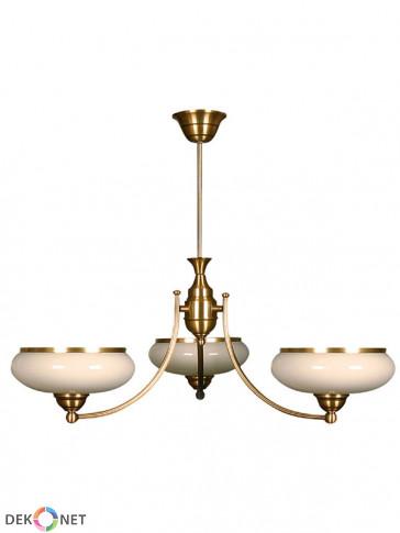 Lampa wisząca Uran, mosiężna, klasyczna lampa 3 płomienna, białe klosze, mleczne szkło