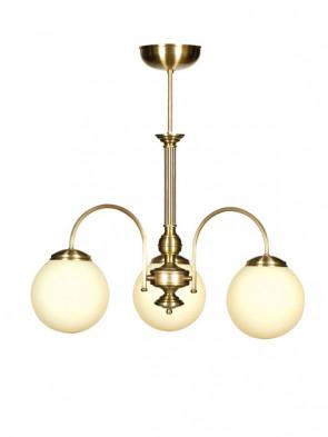 Lampa wisząca, żyrandol Lotos -  3 płomienny żyrandol mosiężny z kloszami w kształcie kuli.
