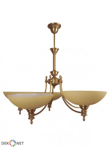 Klasyczna lampa wisząca Jowisz, 5 płomienny żyrandol, delikatne klosze w kolorze ecru.