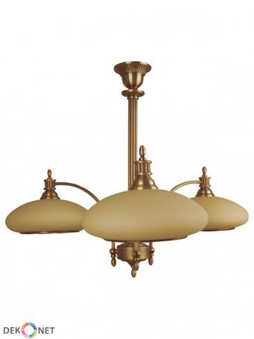 Lampa wisząca Wenus 3 płomienna, klasyczny mosiężny żyrandol, ze zgrabnymi szklanymi kloszami w kolorze ecru