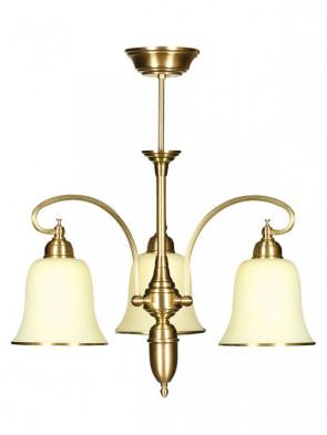 Lampa wisząca, żyrandol Kalia - 3 płomienny żyrandol z mosiądzu.