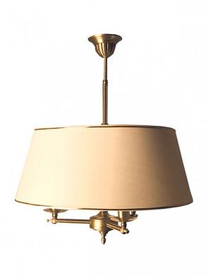 Lampa wisząca Oktawia, klasyczna, mosiężna, 3 płomienna lampa wisząca z abażurami