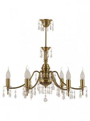Lampa wisząca Wieste -  6 płomienna klasyczna lampa mosiężna