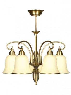 Lampa wisząca, żyrandol Kalia - 5 płomienny żyrandol z mosiądzu.