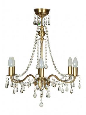 Lampa wisząca, żyrandol Gracja - 6 płomienny żyrandol z mosiądzu.