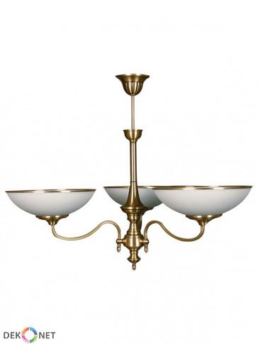 Lampa wisząca Dewon, klasyczna, mosiężna wisząca lampa 3 płomienna