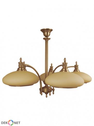 Lampa wisząca Wenus 5 płomienna, klasyczny mosiężny żyrandol, ze zgrabnymi szklanymi kloszami w kolorze ecru.