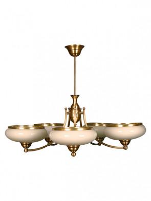 Lampa wisząca Uran, 5 płomienna lampa, lampa mosiężna, lampa wisząca, mosiądz, mleczne szkło