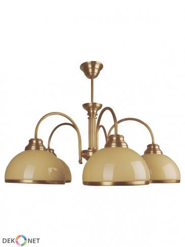 Lampa wisząca Kier , 3 płomienny klasyczny mosiężny żyrandol, klosze w kolorze ecru.
