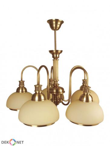 Lampa wisząca, żyrandol Olimp -  5 płomienny żyrandol z mosiądzu.