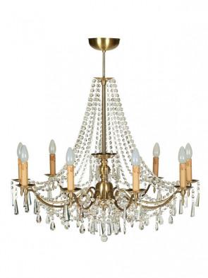 Lampa wisząca, żyrandol Zeus – 9 płomienny żyrandol z mosiądzu.