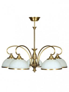 Lampa wisząca Dalia - 5 płomienna lampa sufitowa z mosiądzu.