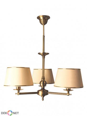 Lampa wisząca Oktawia, klasyczna, mosiężna wisząca lampa 3 płomienna Oktawia z abażurami
