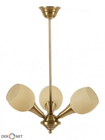 Lampa wisząca, żyrandol Delta -  3 płomienny żyrandol z mosiądzu.