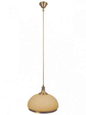 Lampa wisząca Mewa 1 płomienna, klasyczny, mosiężny zwis 1 płomienny, klosze w kolorze ecru.