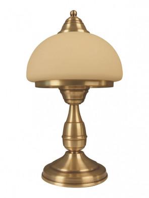 Lampa stołowa Mewa - 1 płomienna, klasyczna, mosiężna lampa stołowa, klosze w kolorze ecru.