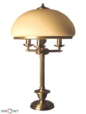 Lampa stołowa Topaz, klasyczna, mosiężna lampa stołowa 3 płomienna