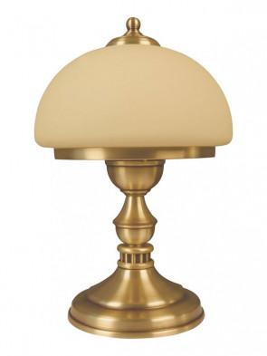 Lampa stojąca Szafir, klasyczna mosiężna lampa stołowa, klosz w kolorze ecru na masywnej mosiężnej podstawie. 1 płomienna.
