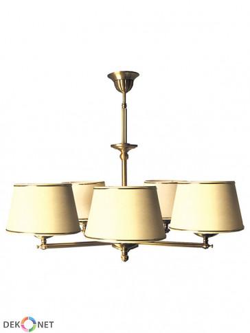 Lampa wisząca Oktawia 5-płomienna. Mosiężna lampa z ramą w kolorze mosiądz antyczny i jasnymi abażurami.