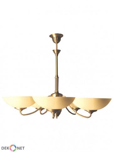 Lampa wisząca Saturn. Klasyczny mosiężny żyrandol, 5 szklanych kloszy w kolorze ecru.