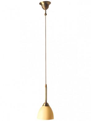 Lampa wisząca Karo, klasyczna, mosiężna lampa 1 płomiennaomienna