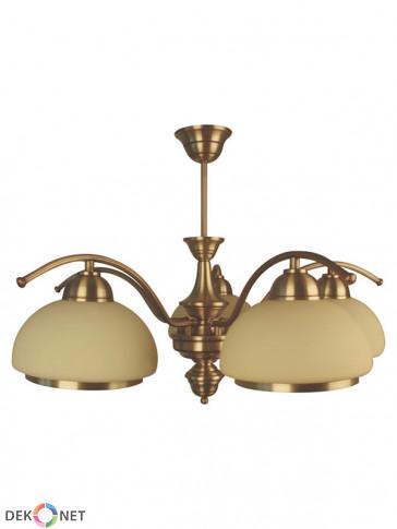 Lampa wisząca, żyrandol, Mewa – 5 płomienna lampa z mosiądzu, klosze w kolorze écru.